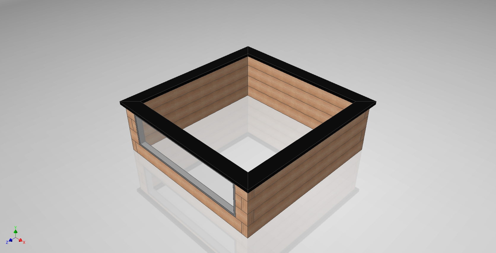 Concept Design Wooden Sleeper Pond Kit With Window
