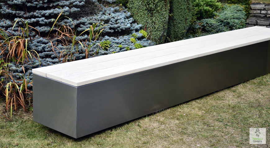 minimalist design outdoor seating bench | made from stianless steel and composite wood