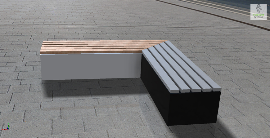 L-shaped bench garden seating area furniture | contemporary , modern, minimalist | Atlantica Gardens