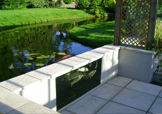 Pond glass koi pond viewing panel glass atlantica gardens for Koi pond glass