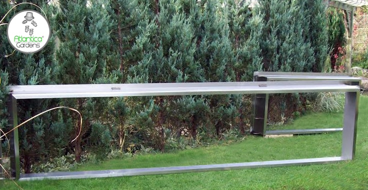 Wide 2.6m (3meter) koi pond window frame constructed of 316 stainless steel