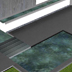 Garden design layout with large trough water feature 5 meters long and thin