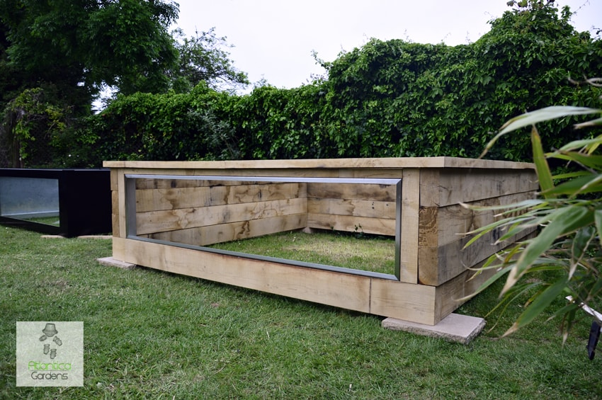 Wooden railway sleeper pond kits with windows atlantica for Garden table fish pond