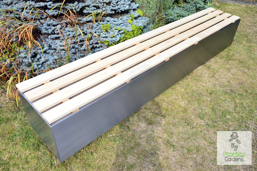 Outdoor Wood Bench Part - 38: Modern Garden Bench | Stainless Steel 3 Meters Long